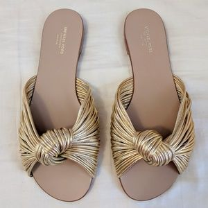Michael Kors Metallic Gold Leather Slides